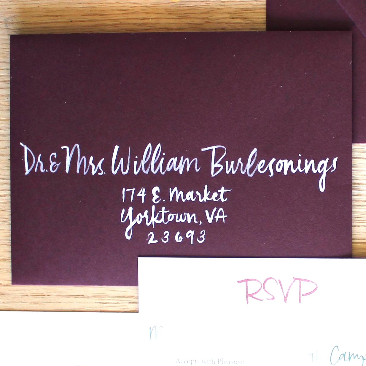 Brush-lettering: $2/envelope