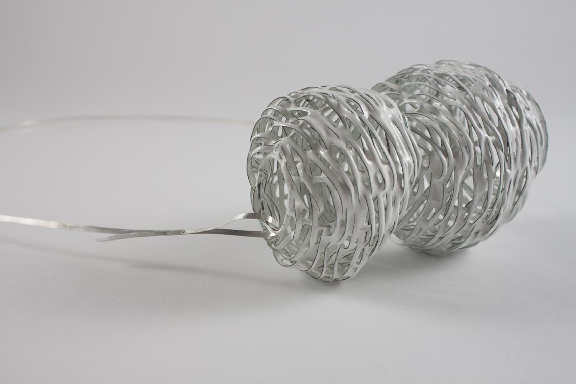 Thorpe Avenue. 2018. Copper, enamel, sterling silver. 6 x 3.5 x 3.5 inch, 39 inch wire.