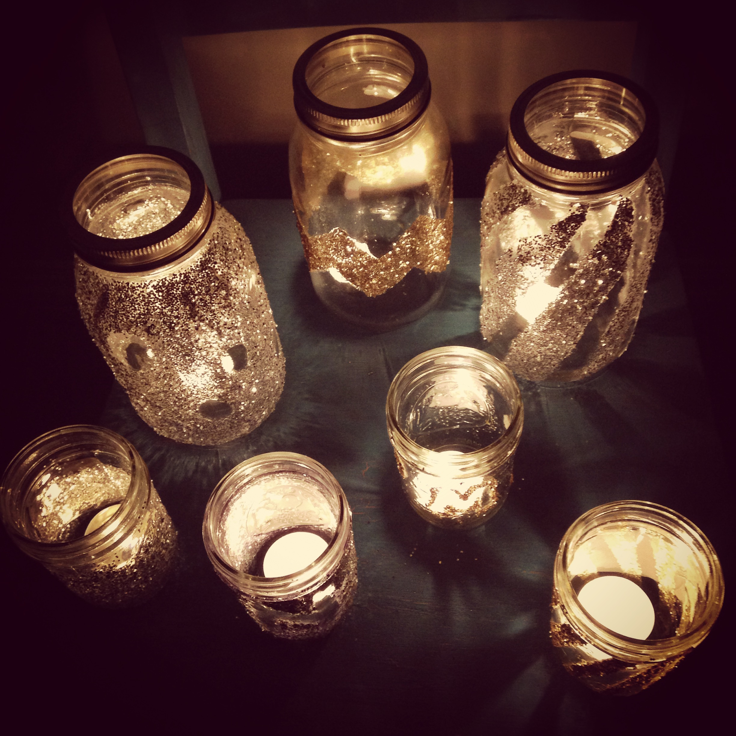 Handcraftedcandle holders created by party guests!