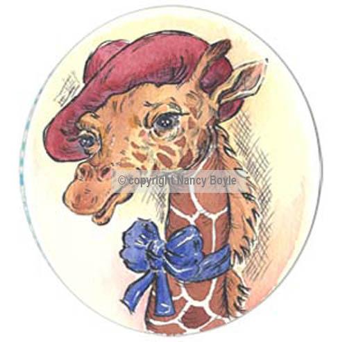 Miss Giraffe in a red hat