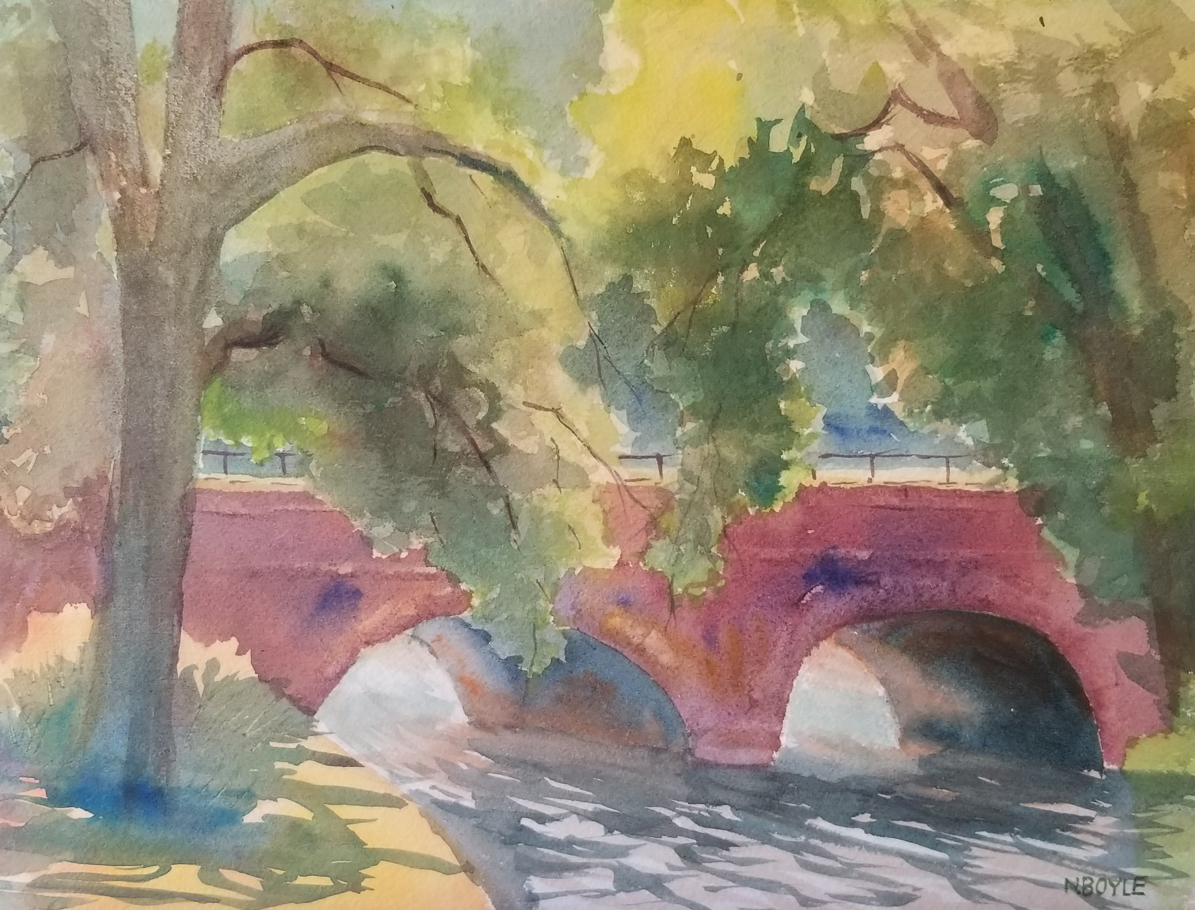Bridge at Natick Dam-9x12-watercolor-by Nancy Boyle.jpg
