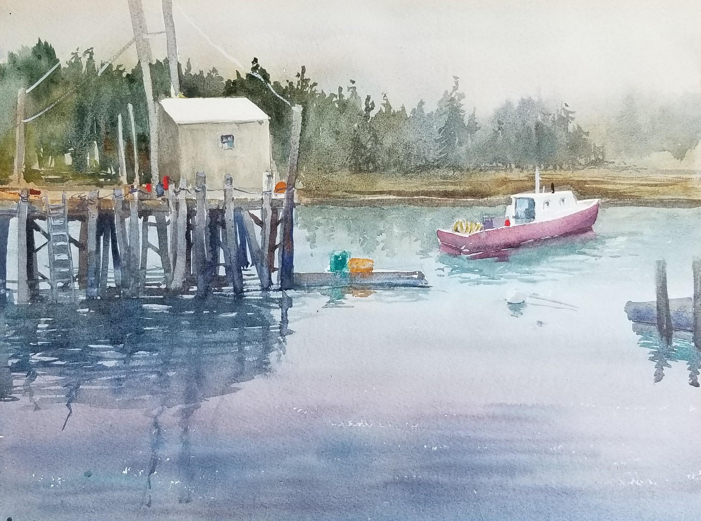 Coastal Maine harbor view-12x16 by Nancy Boyle.jpg