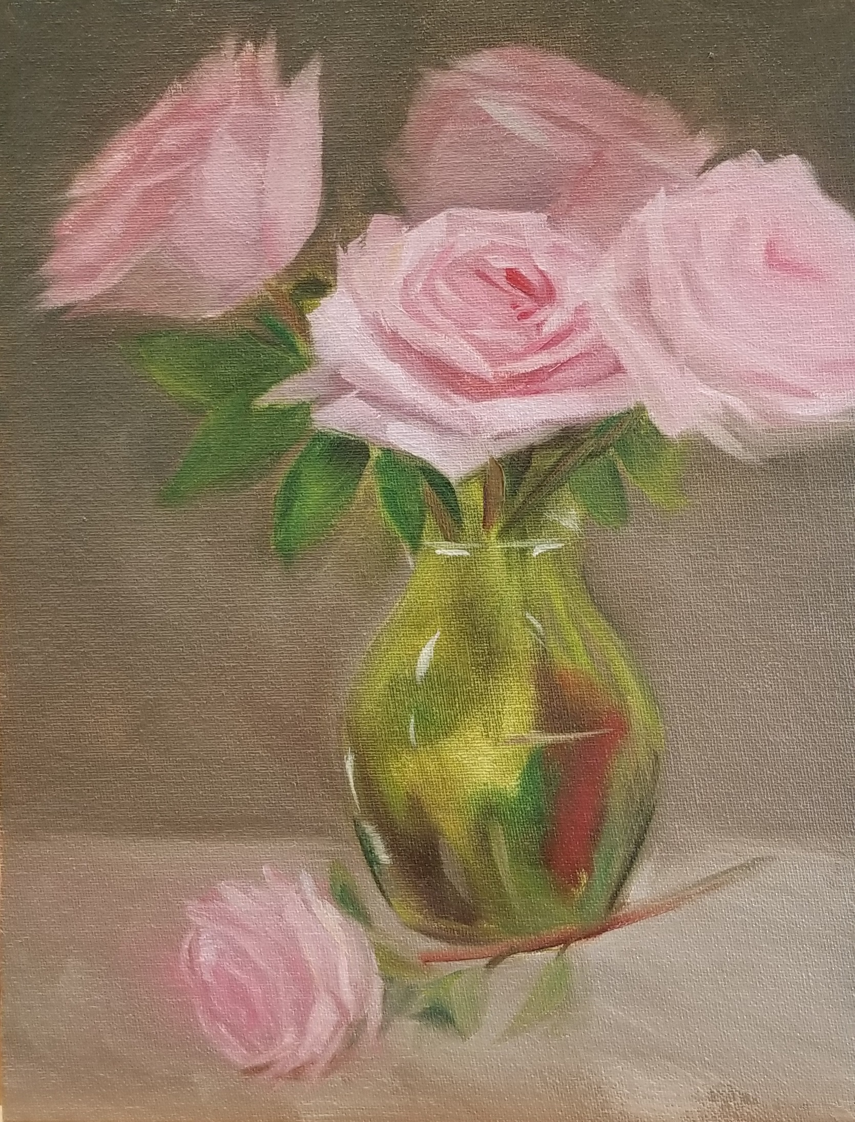 Pink Roses in a Vase 14x11 - oil on linen by Nancy Boyle-photo of .jpg