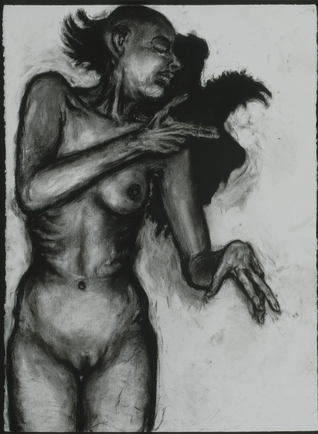Nude with Crow 1. 1990s. Chracoal on paper. 30 x 22 inches.jpg