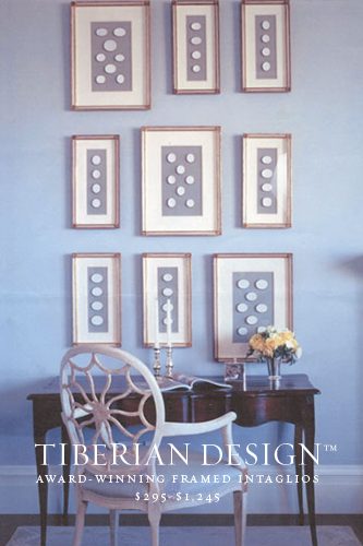 Framed Intaglios Project No. 2  A Beautiful Collection of Tiberian's Swedish Blue Framed Intaglios made for KENDALL WILKINSON DESIGN (Featured in House Beautiful-Favorite Design Element)