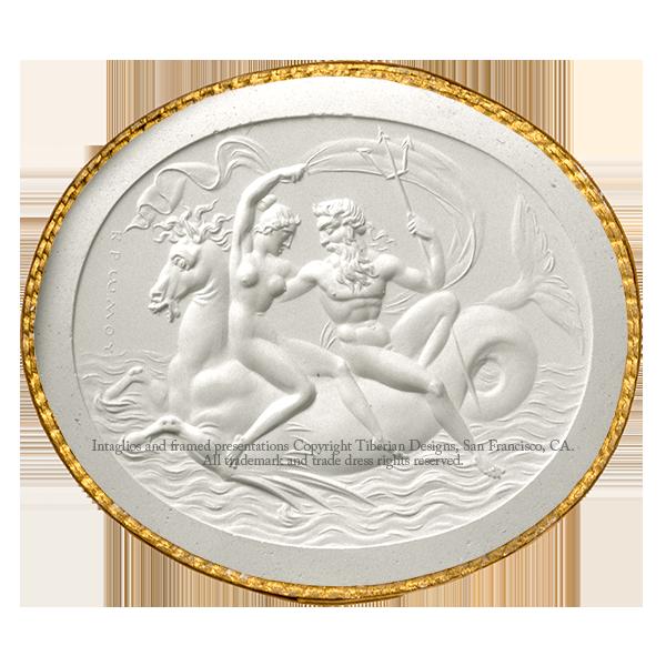 Tiberian Intaglio No.12  Neptune and Amphitrite seated on a sea horse.