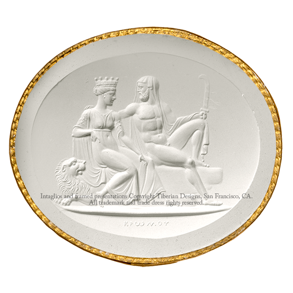 Tiberian Intaglio No.16  Saturn and his wife Rhea, with their attributes.