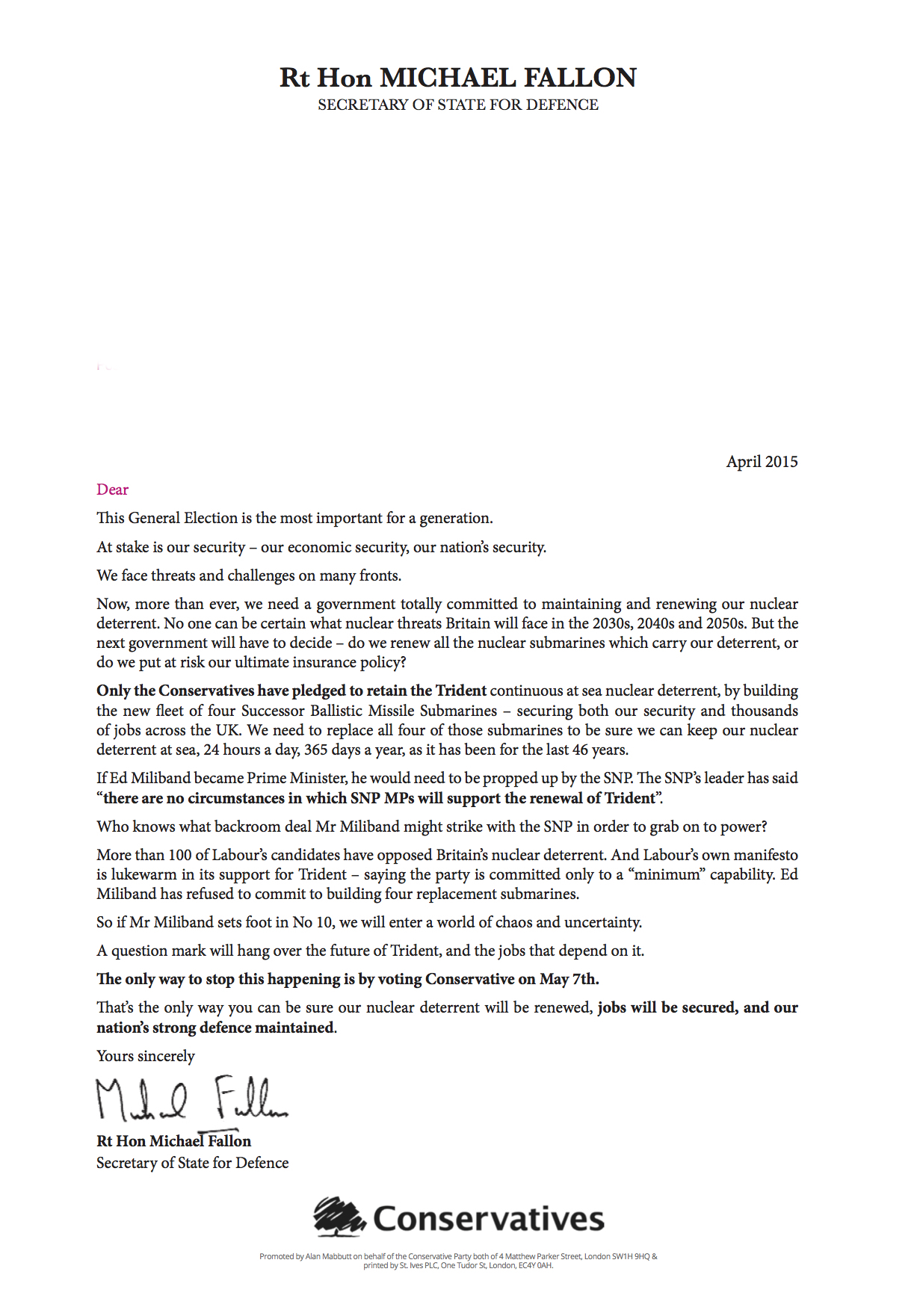 A letter from Michael Fallon to all Barrovians.