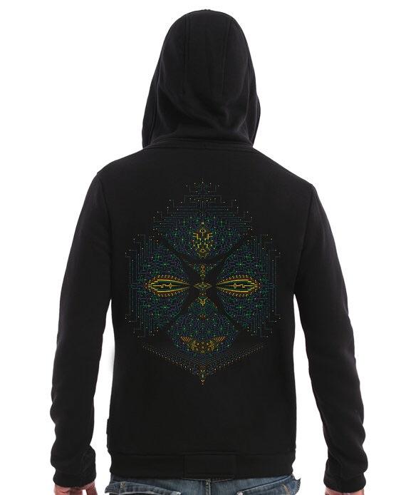 Black Hoodie With Psychedelic Fractal Print