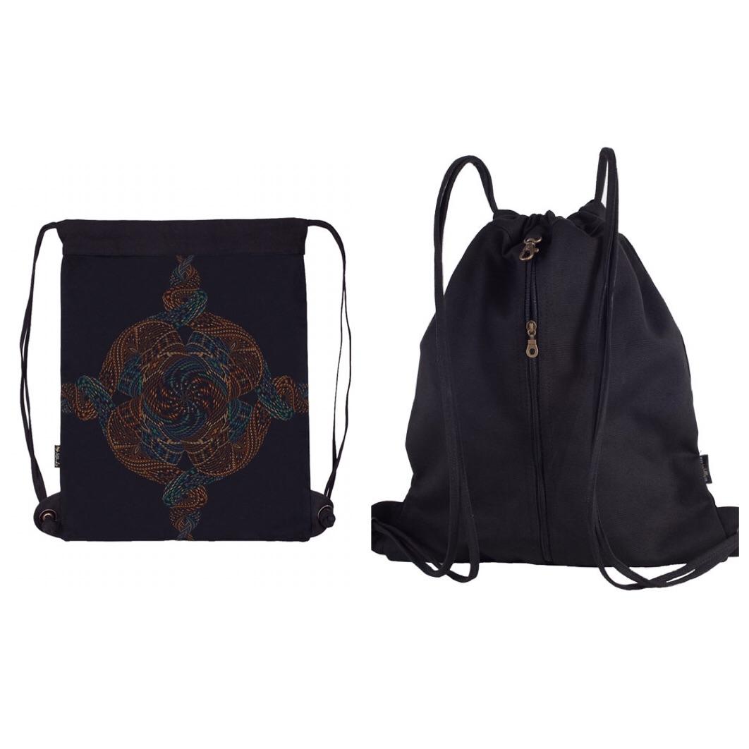 Canvas Sack Bag, Mandala Bag, Drawstring