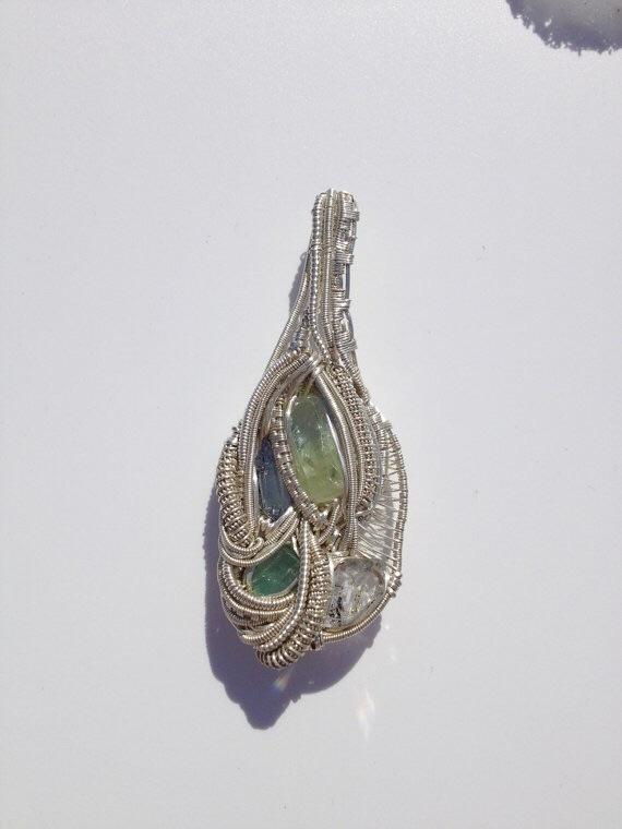 Wire Wrapped Silver Pendant (tanzanite, green beryl, quartz)