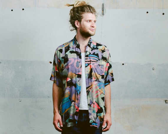 Vintage ABSTRACT PRINT Shirt . Men's 90s Grunge Normcore 1990s Ibiza Summer Geometric Bold Minimalist Multicolour Shir