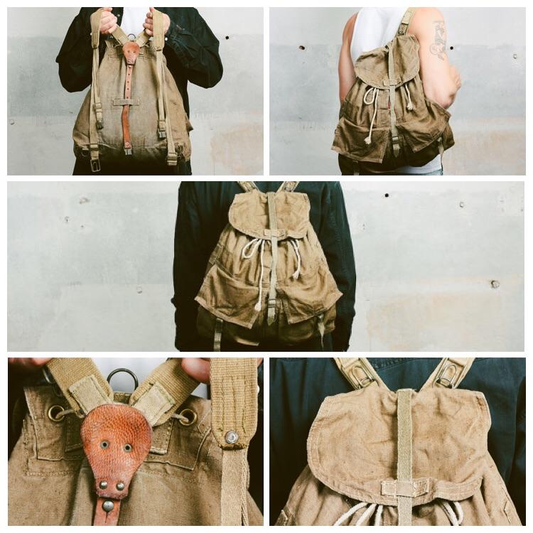 Khaki CAMPING Backpack . Vintage Army Rucksack Canvas Knapsack Leather Haversack Large Outdoors Hiking Traveler Packsack