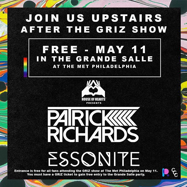 House of Hearts fam! Tomorrow night after the GRiZ show join us in the Grande Salle – the Met's exclusive pre & post show lounge. Entrance is free for all GRiZ ticket holders. YES! FO FREEEE! See u there :)