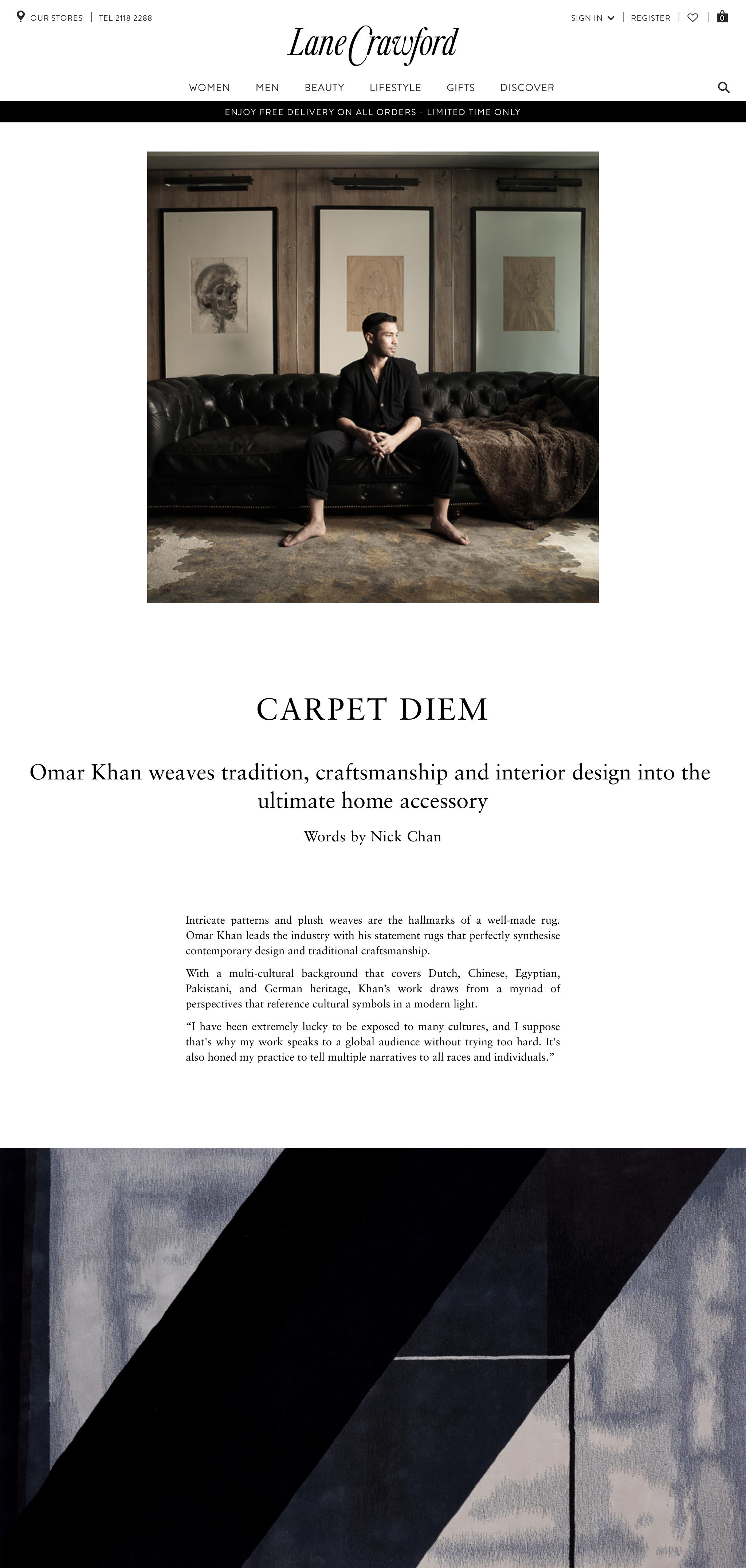 Writing | Lane Crawford | Omar Khan Rugs