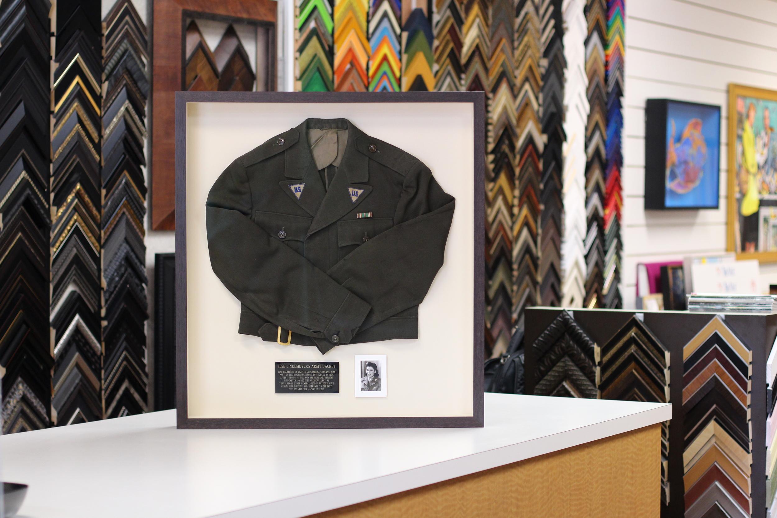 WWII Women's Army jacket - Shadowbox Frame