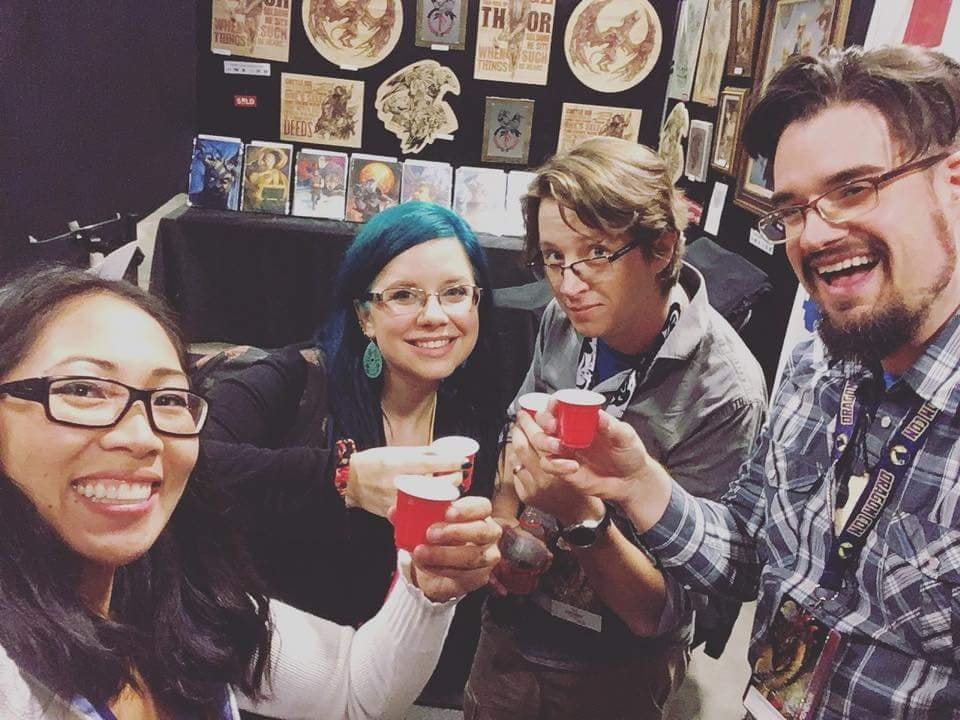 Loraine, Heather, Tad, and Sam toasting the first day's sucess!