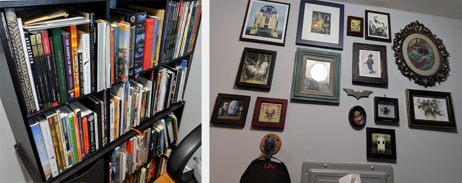 Books that I use for reference & inspiration. My wall of art. This is only one side.