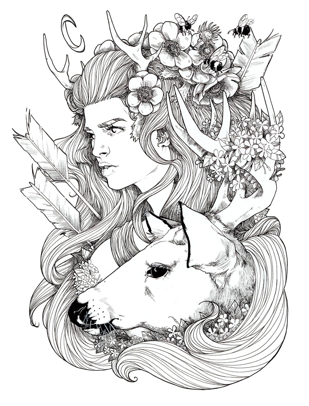 Tawny's Artemis Ink Drawing