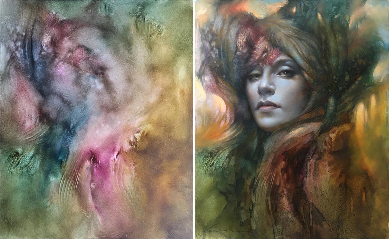 The Rune Writer, oil on panel, start and finish, by Vanessa Lemen