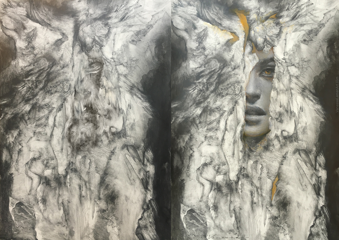 Ora, graphite and oil on panel, start and finish, by Vanessa Lemen