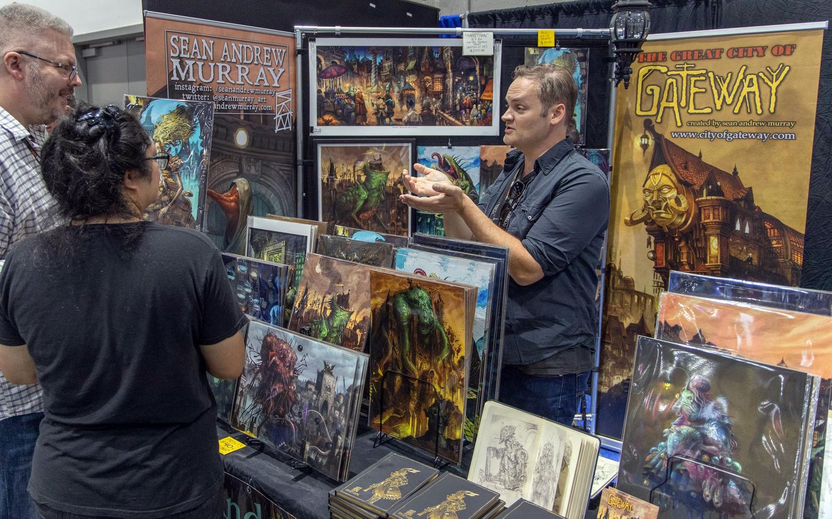 Sean Murray in his Gateway art booth at San Diego Comic Con.