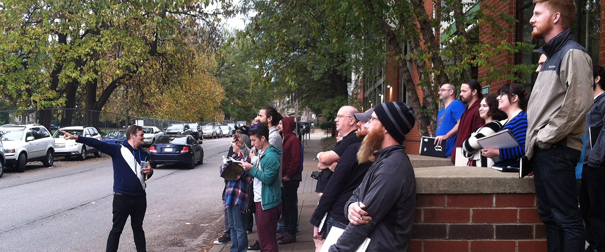 Sean leading the attendees of the workshop on an art exploration walk!