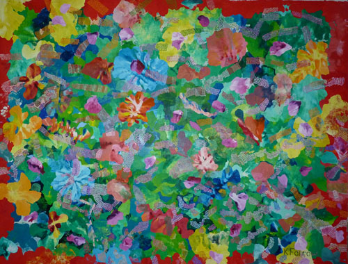 Moorea Flowers. Oil on Linen.220H x320cm
