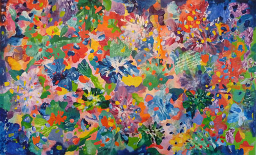 Tahiti Flowers. Oil on Linen. 188H x320cm
