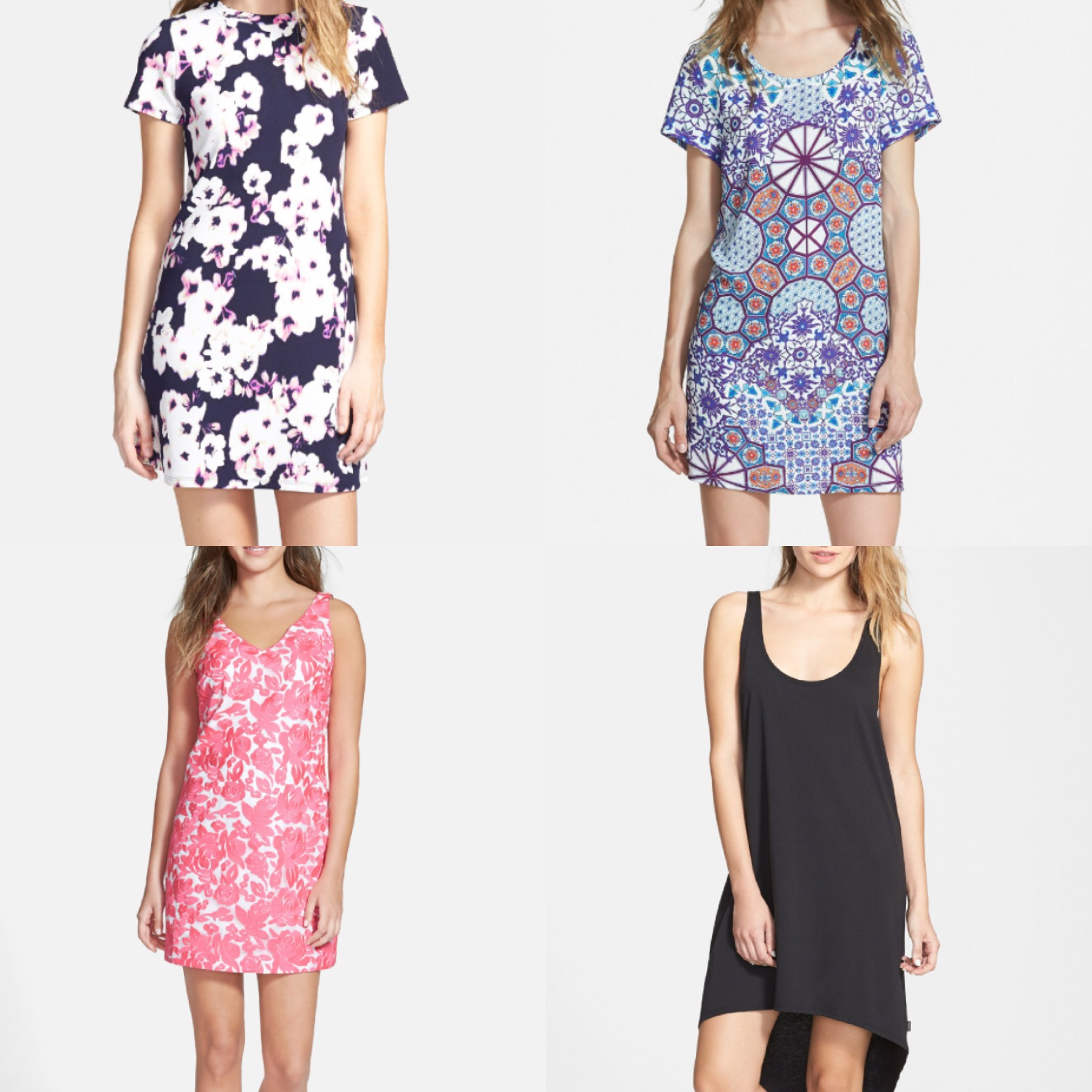 Clockwise from top left: One Clothing Floral Print Shift Dress MINKPINK Whisper of the Heart Dress  Volcom Into My Web Dress  Vineyard Vines Embroidered Silk Shirt Dress