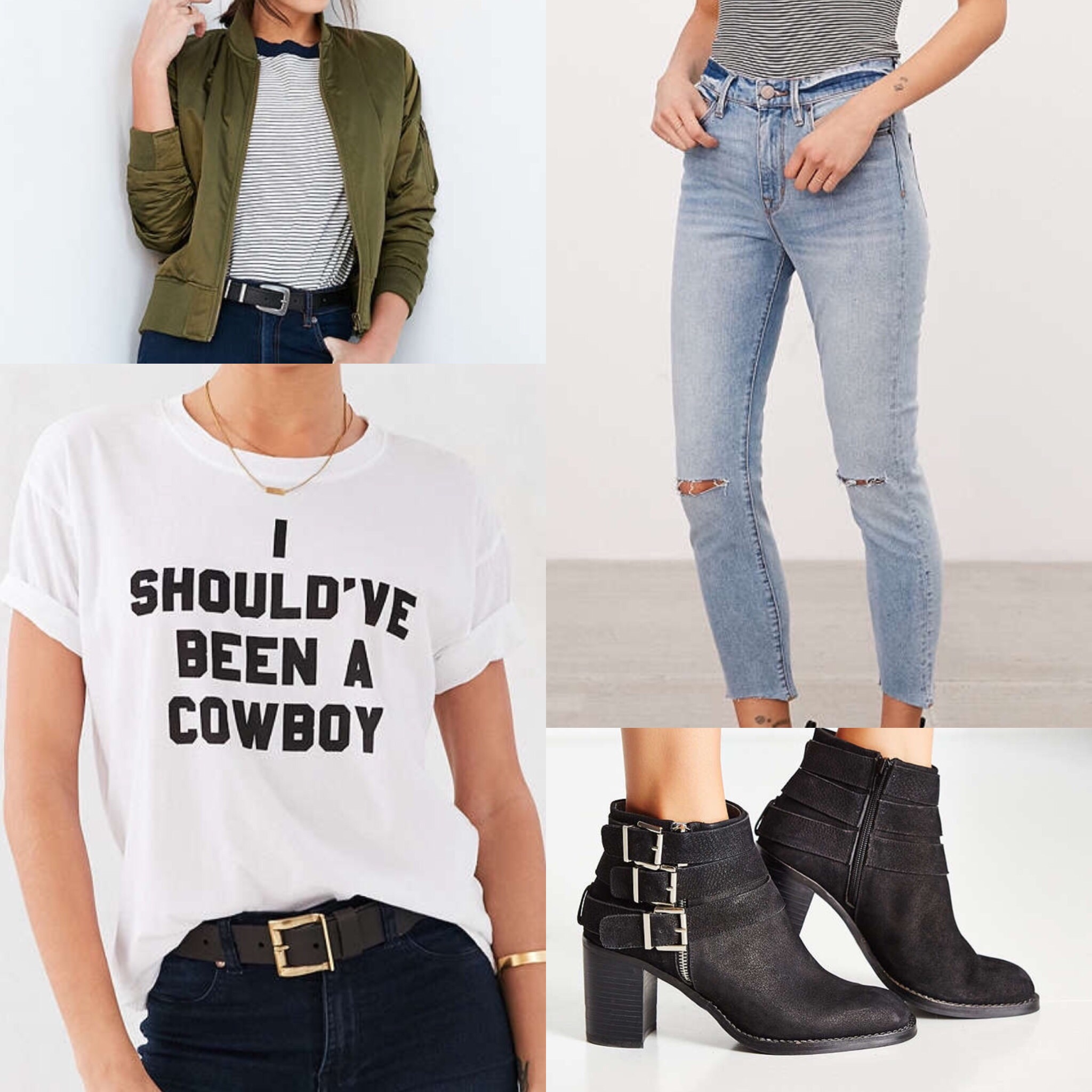 Clockwise from top left:  Silence + Noise Gaby Swing Bomber Jacket ,  BDG High-Rise Twig Crop Skinny Jean ,  Jeffrey Campbell Rayburn Buckle Boot ,  Truly Madly Deeply Shirt