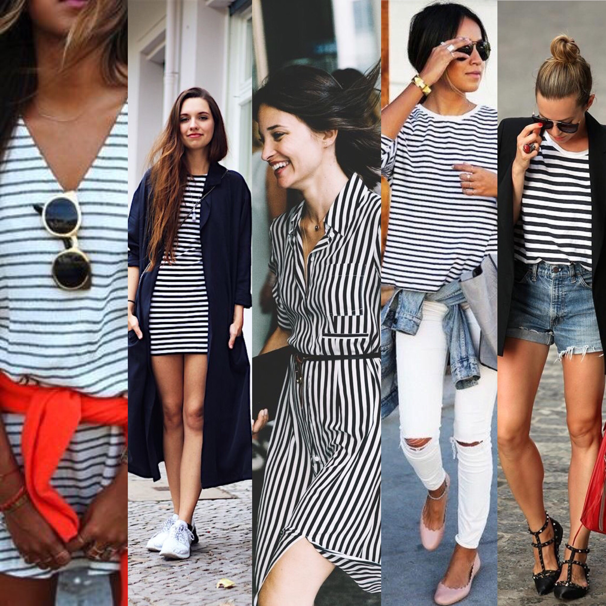 L-R  Striped Dress , Gold Sunnies.  Striped Dress,  Long Sweater.  Vertically Striped Dress .  Striped Shirt , White Denim.  Striped Shirt , Jean Shorts.