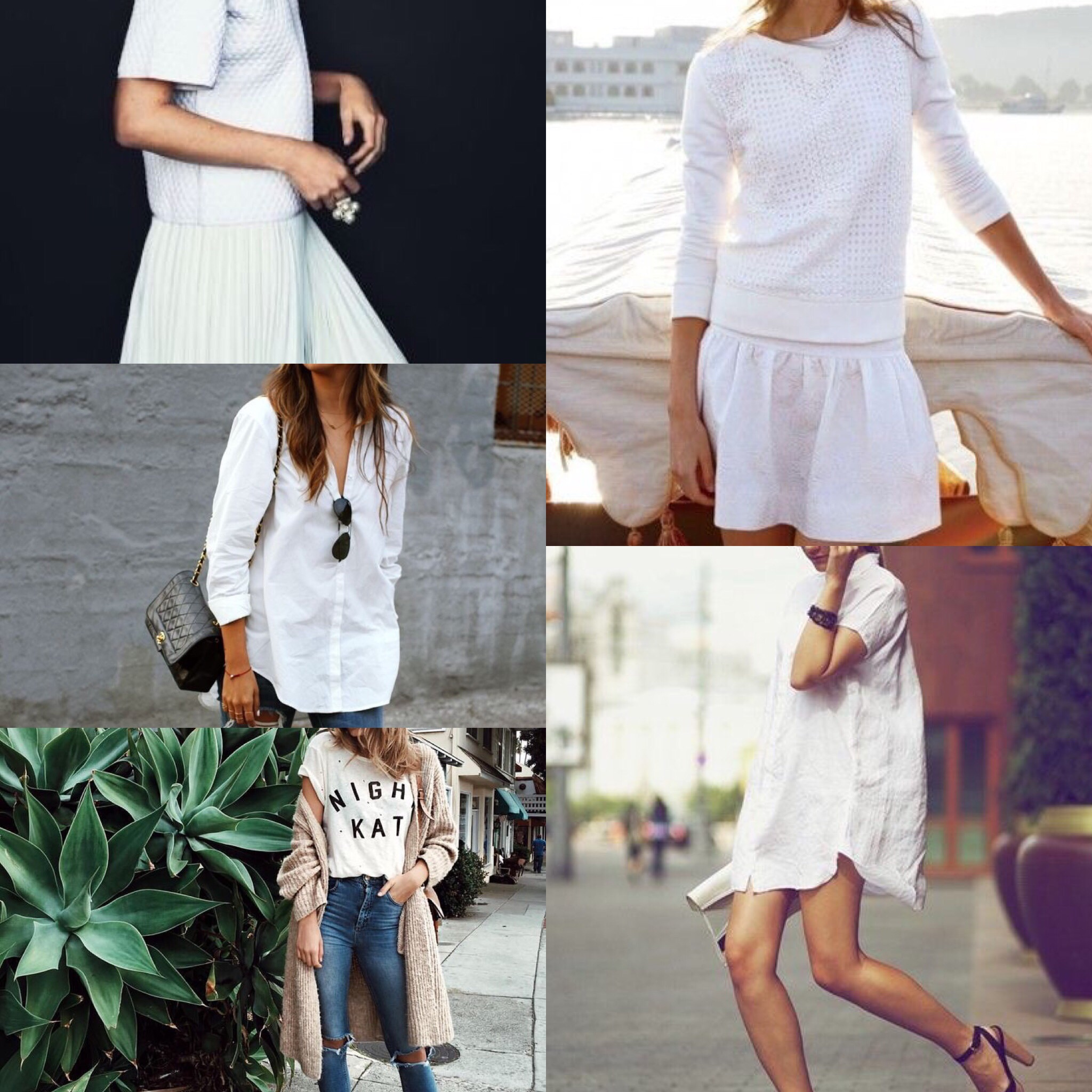 Clockwise from top left.  White Skirt,  White Top.  White Skirt , White Sweater.  White Shirt Dress .  White Tee .  White Button Up .