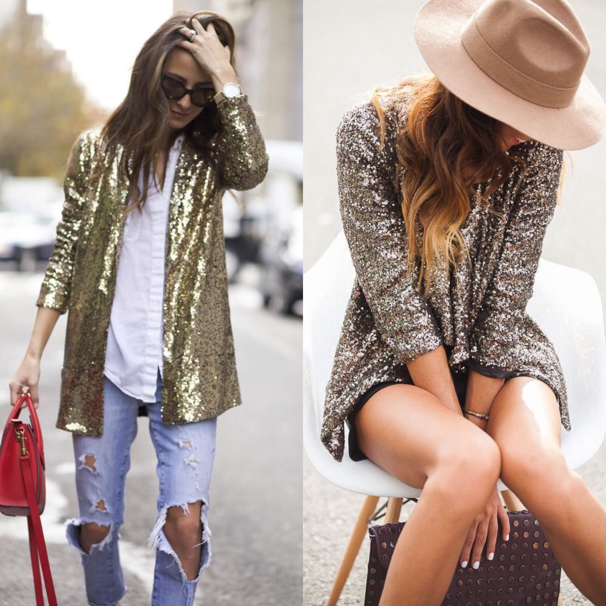 L-R:  Gold Sequin Jacket ,  Champagne Sequin Top