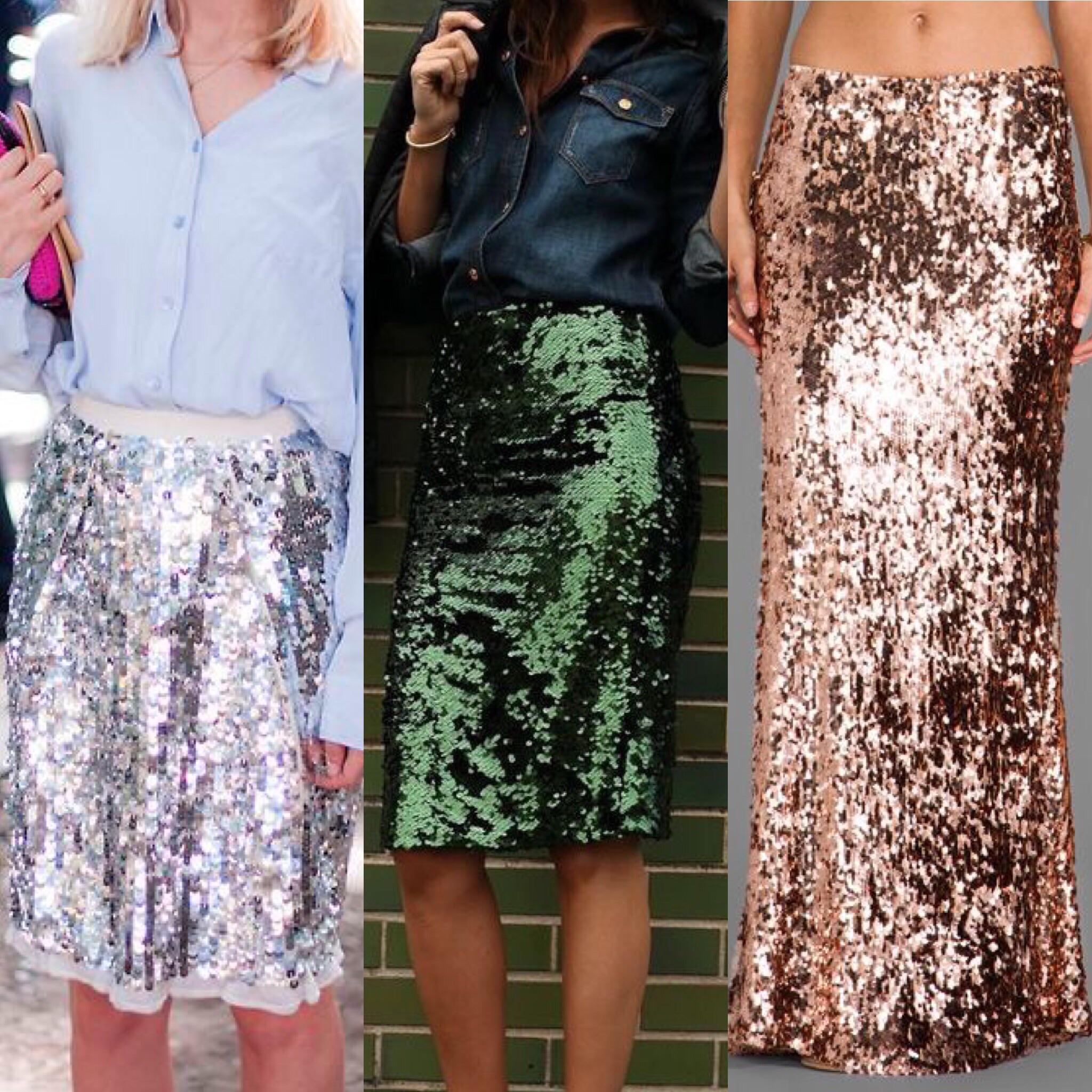 L-R:  Silver Sequin Skirt ,  Emerald Green Skirt ,  Rose Gold Mermaid Skirt