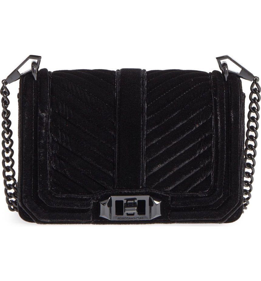 Rebecca Minkoff Love Quilted Velvet Cross-Body