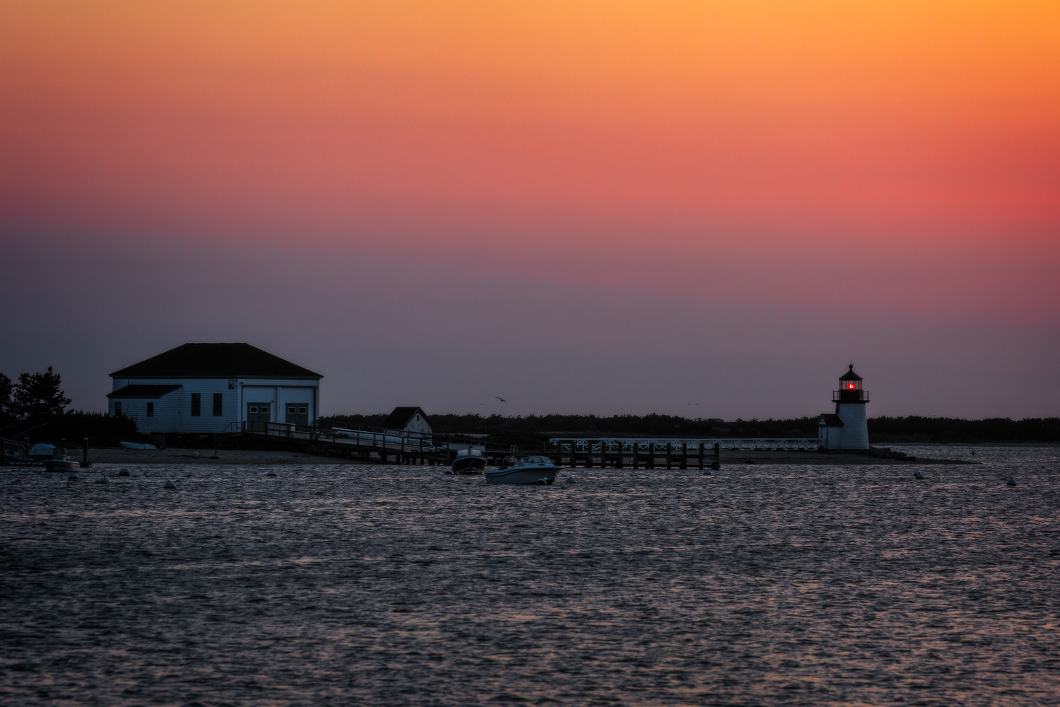 Here is Brandt Point Lighthouse at dawn.
