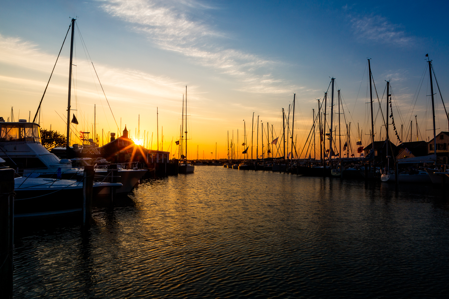 Here is Nantucket Harbor at sunrise. The boats had finished the Figawi Race.