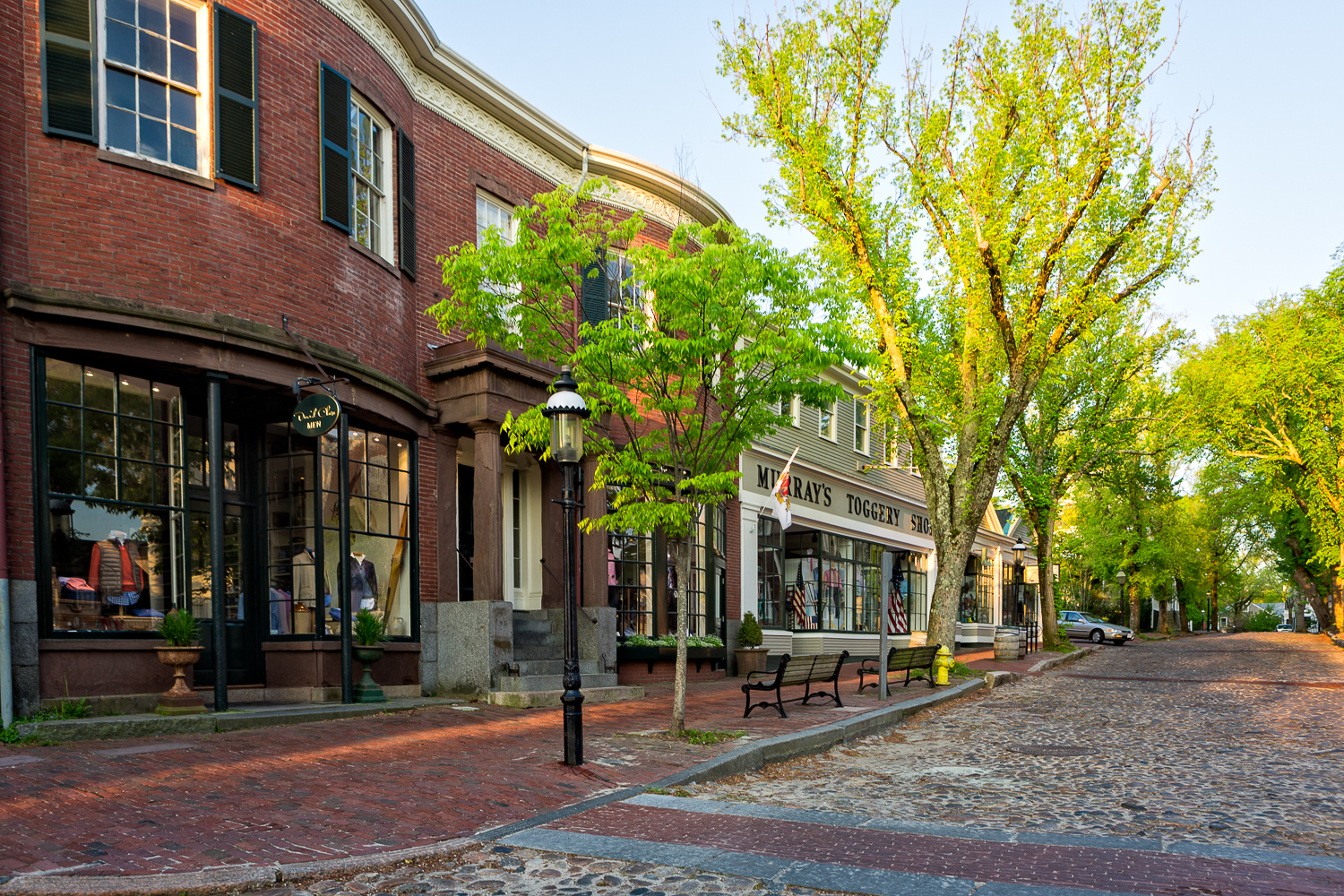 Shopping on Main Street in Nantucket before the crowds.