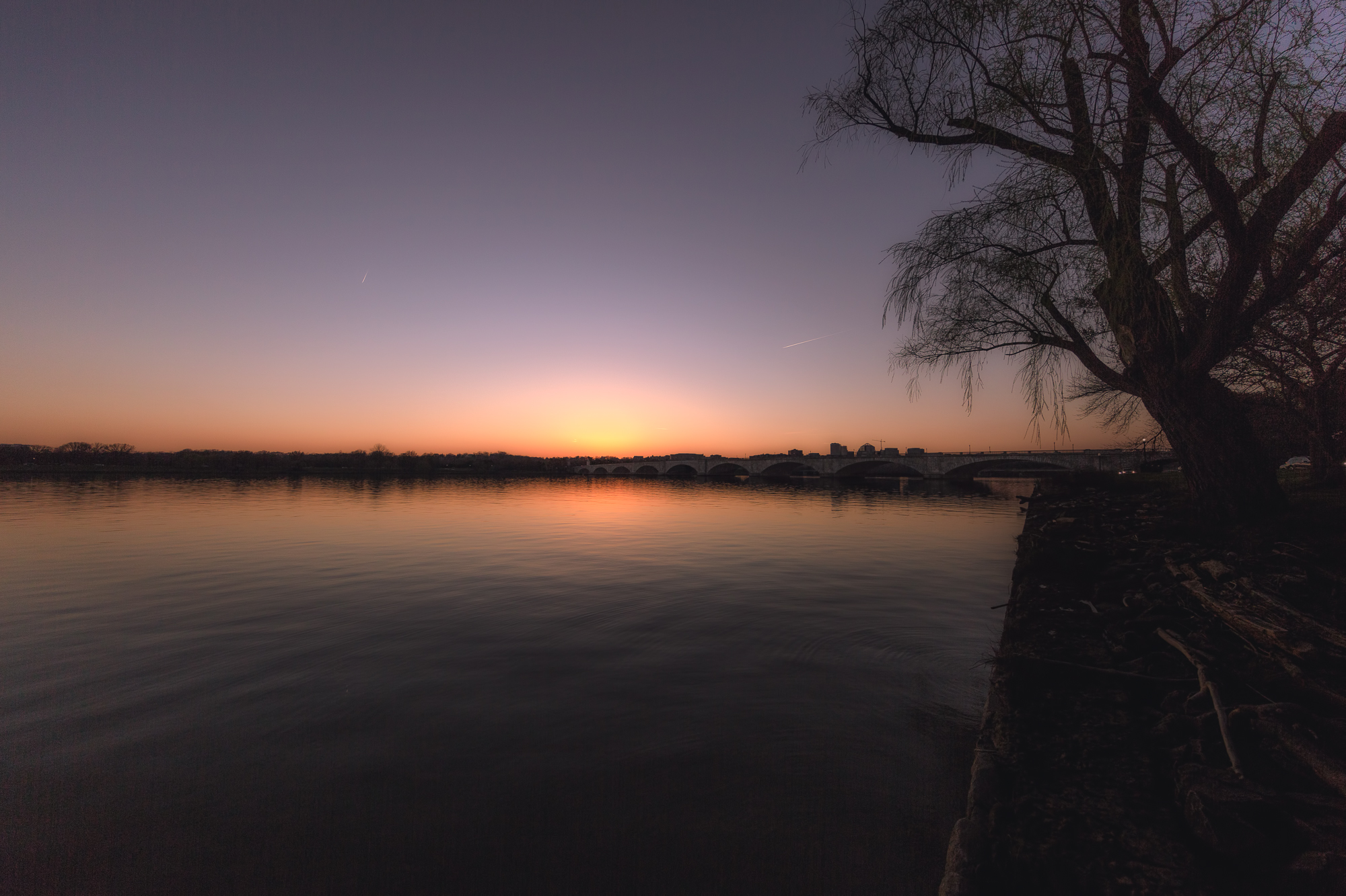Sunset on the Potomac River, Washington DC, Memorial Bridge