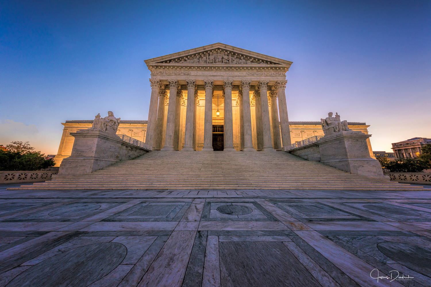 The US Supreme Court just before sunrise.