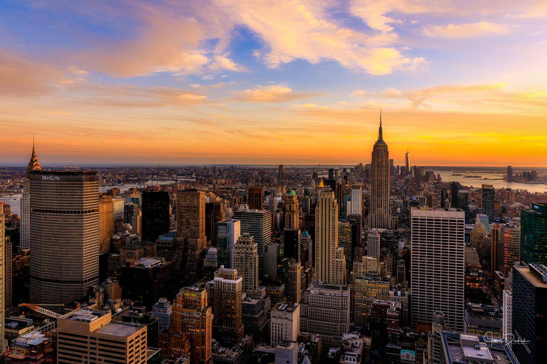 Lower Manhattan at sunset.