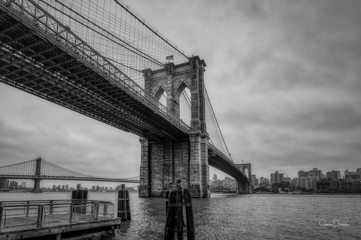 The Brooklyn Bridge on a cloudy morning.