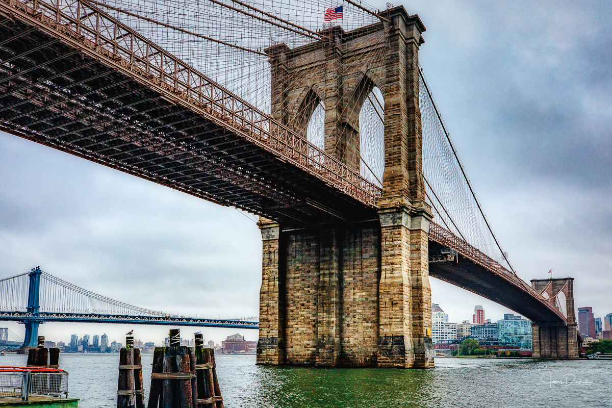Morning view of the Brooklyn Bridge in New York City.