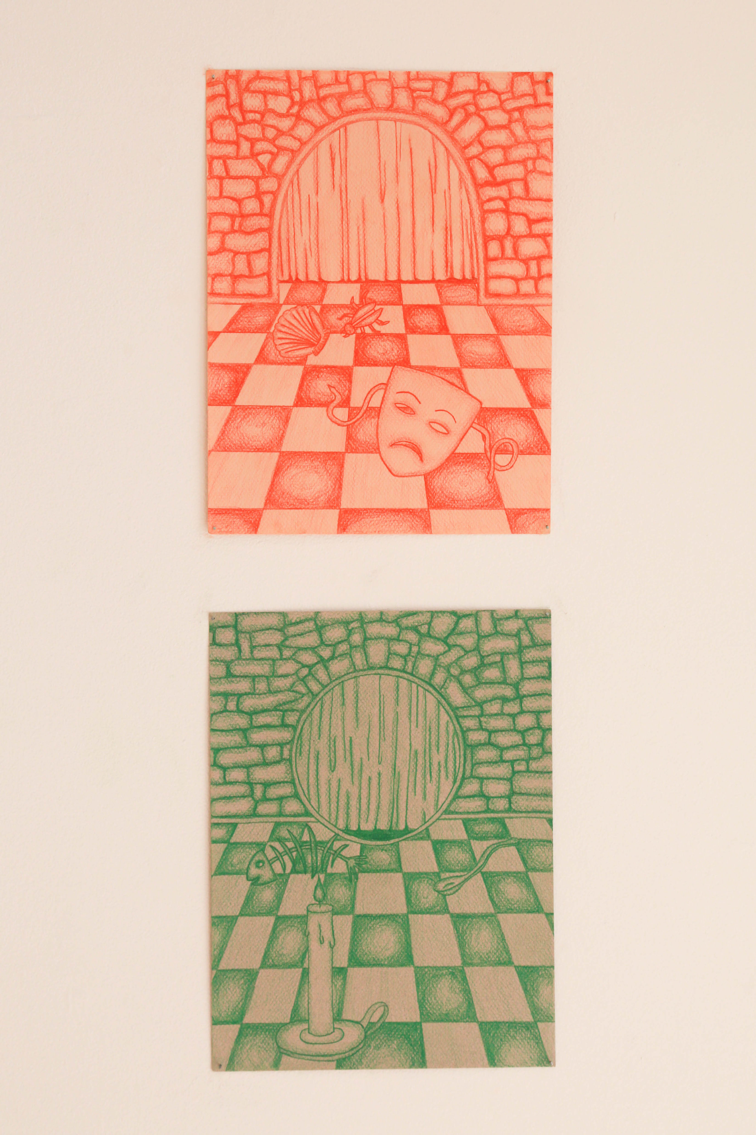 """Game 1 and Game 2 , 2017, 9"""" x 12"""", Colored Pencil on Paper"""