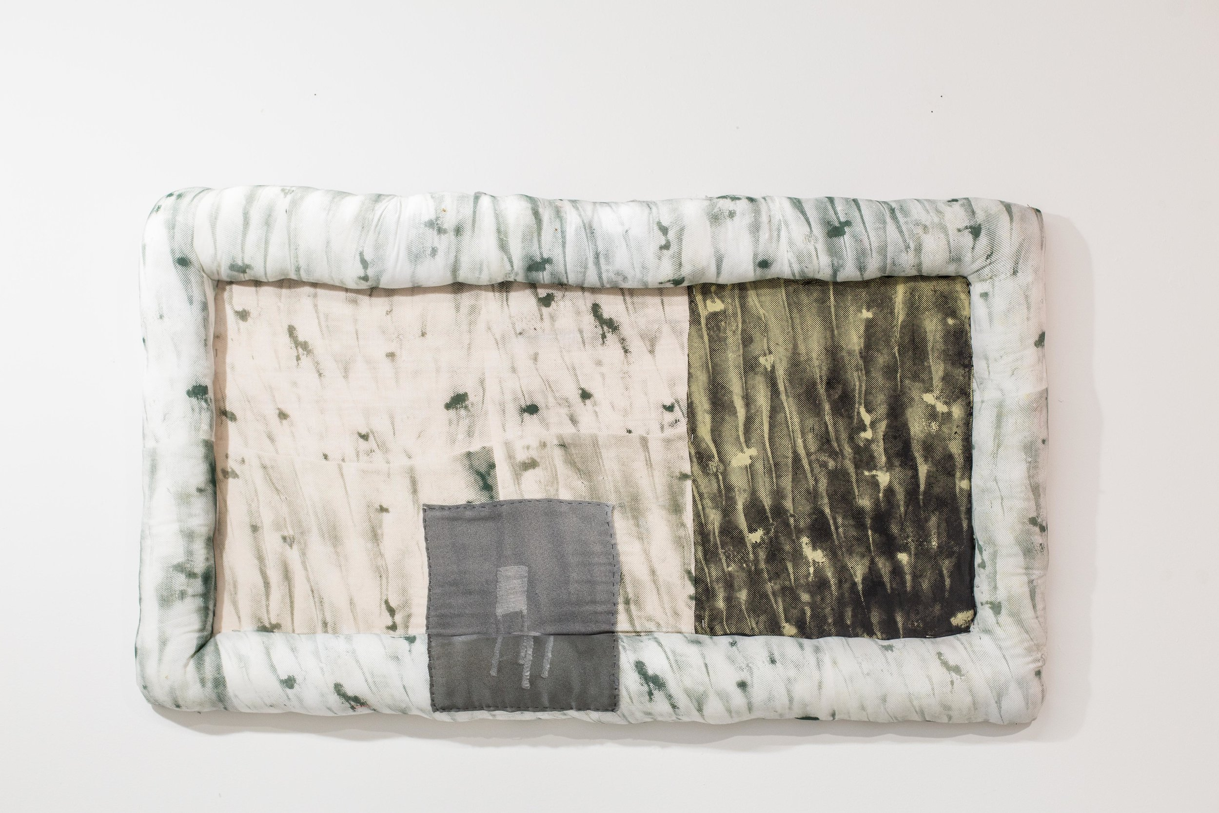 """Settling , 2018, Wood, screen print on cotton and silk, polyester stuffing, 24"""" x 42"""""""
