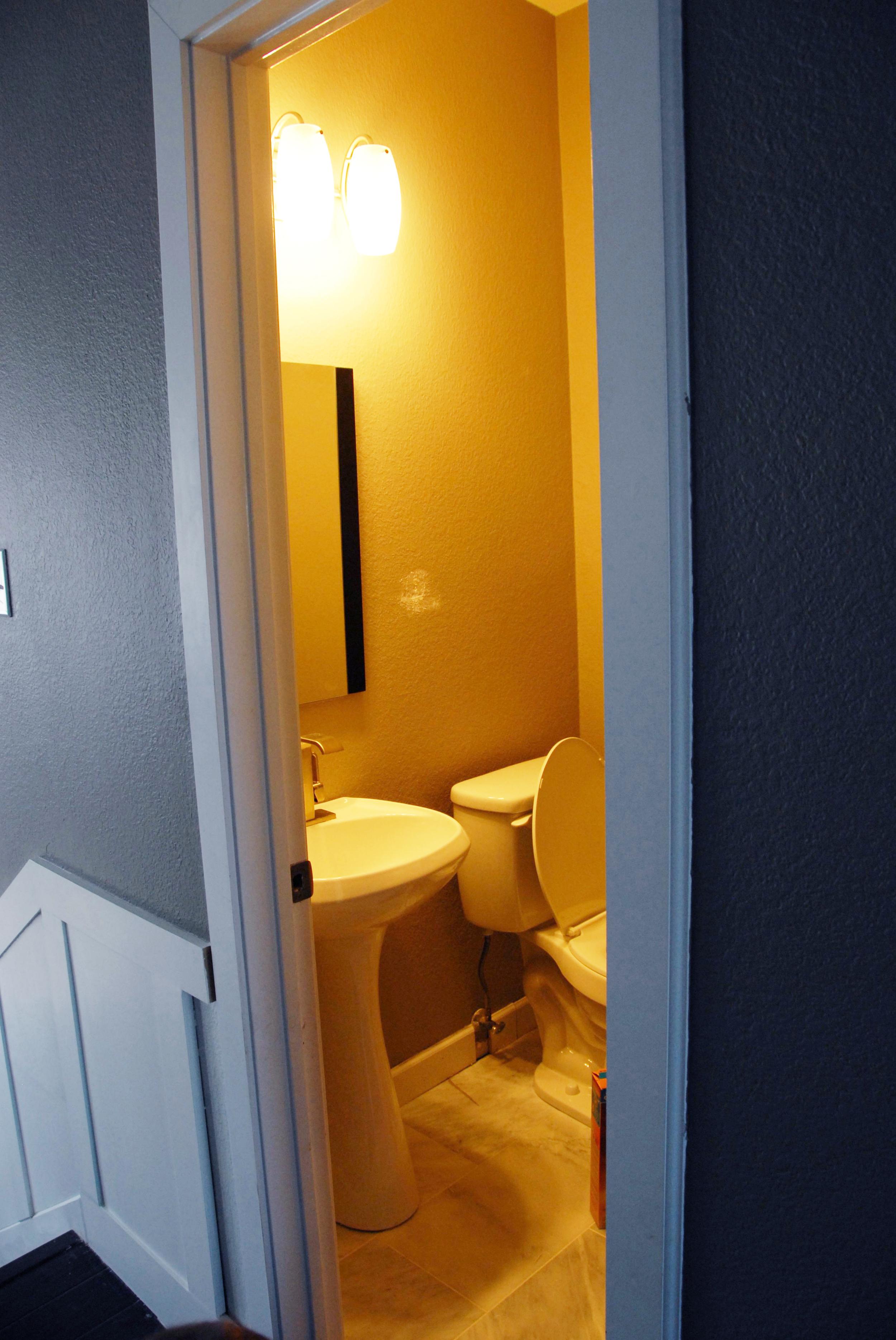 Our small powder room/half bath from the hallway