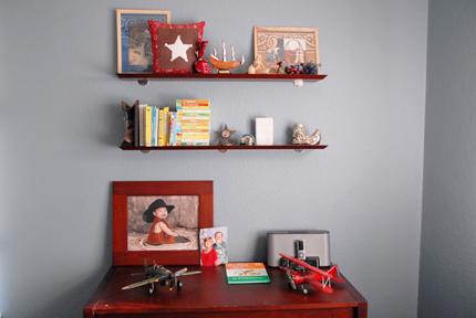 Shelves and dresser.