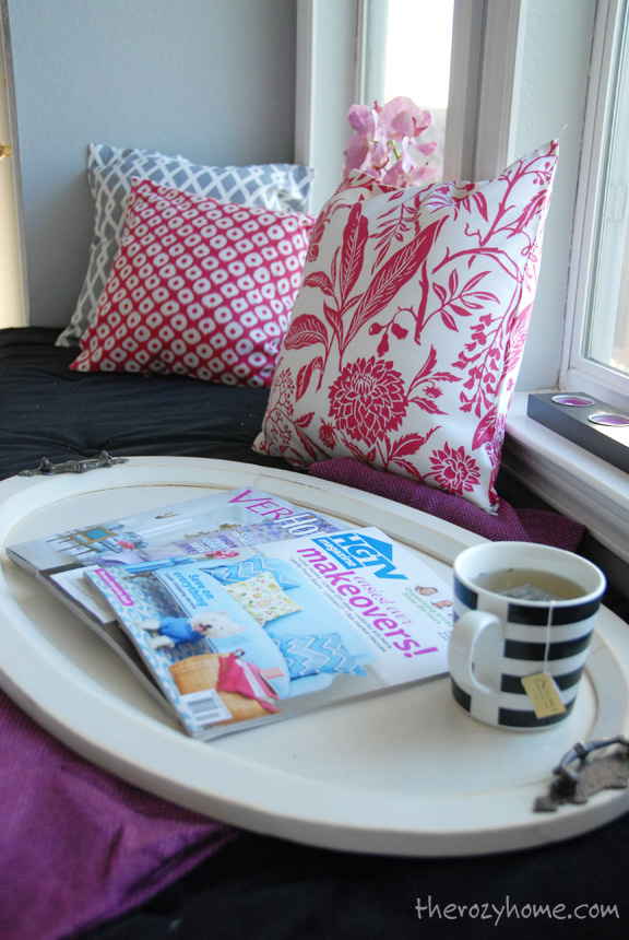 A few of my favorite mags and a cup of tea.