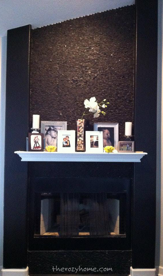 The black stone fireplace after.